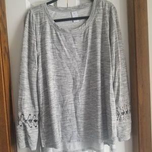 Livi Active heather grey corset sleeve sweatshirt